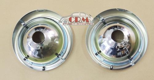 farol fusca 73/74/75 lente vidro/ aro metal / par/ c soquete