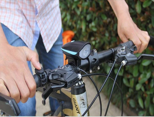 farol lanterna bike led recarregável usb c/ buzina 140db