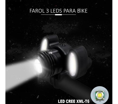 farol lanterna bing mtb gb-720 usb recarregável 03 leds