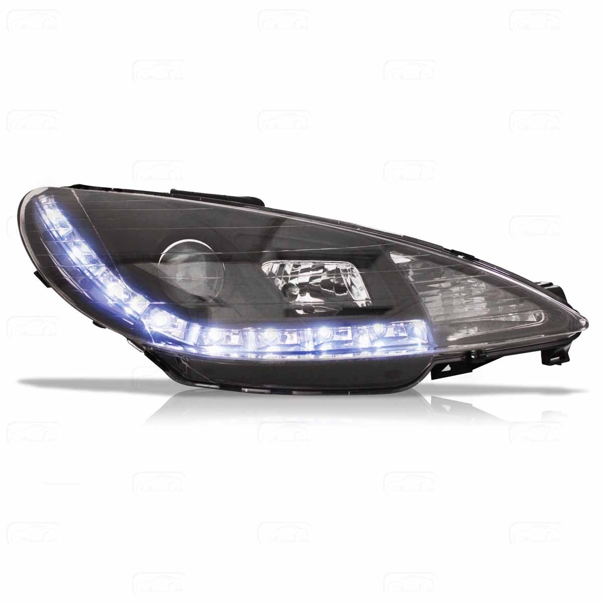 Farol Led Peugeot 206 98 At U00e9 08 Mascara Negra Par