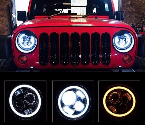 farol led projetor defender wrangler troller jeep angel eyes