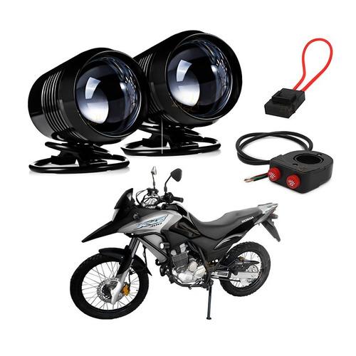 farol milha moto auxiliar leds cree 15w moto controle u2 xre
