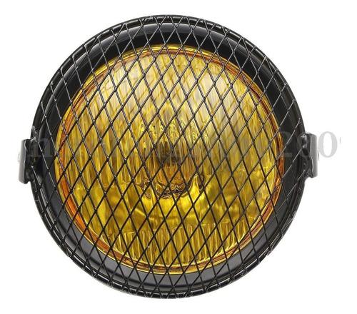 farol moto com grade tela lente amarela harley custom cafe