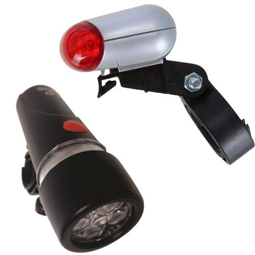 farol para bike até 750m + lanterna 5 led bicicleta a11 acte