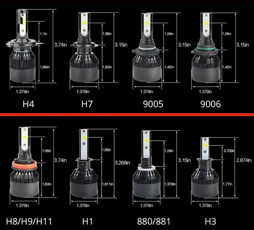 faros luces led h1 h7 h11 9005 9006 9007 proled