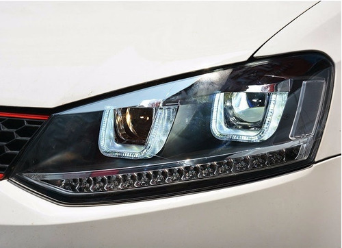 faros polo gti vento led luz de dia xenon plug and play