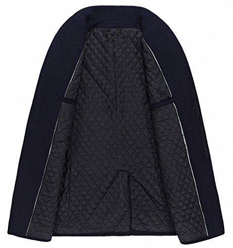 fashinty abrigo de lana de lombriz con cuello de estilo
