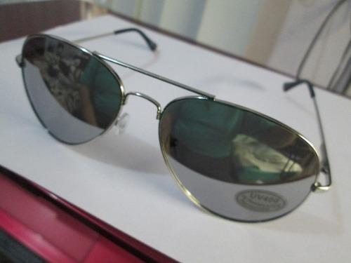 fashion lentes aviador espejo armazon plata con envio y msi