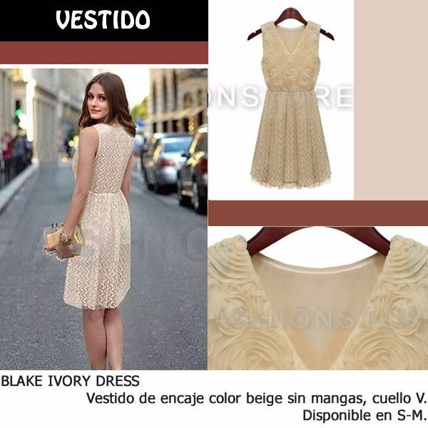 Fashionstore Blake Ivory Dress Vestido Beige De Encaje