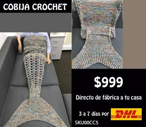 *fashionstore* cobija cola de sirena crochet modelo cc5 gris