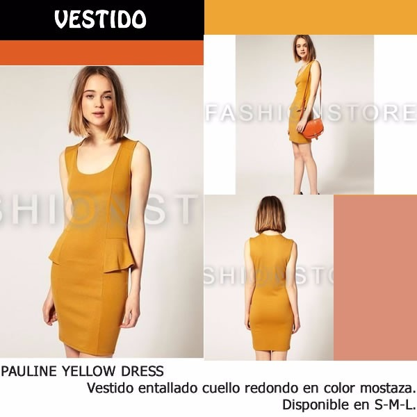Fashionstore Pauline Yellow Dress Vestido Color Mostaza