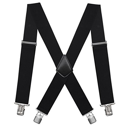fasker mens suspenders x-back 2 -inchwide adjustable solid s