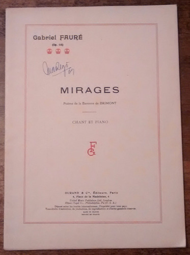 faure mirages canto y piano ed. durand