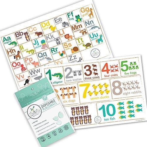 fawn hill co placemats desechables para niños - diseño de m