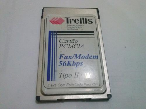 fax modem cartão pcmcia 56kbps trellis