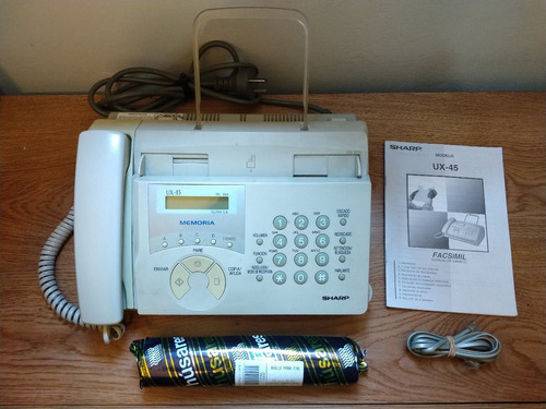 fax sharp ux-45 - impecable - manual, cable y rollo papel