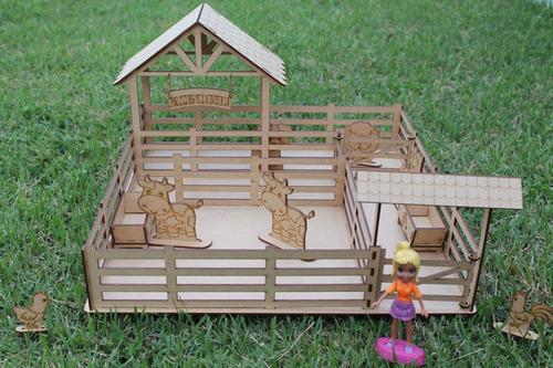 fazendinha animais p/ casa casinha boneca polly com celeiro