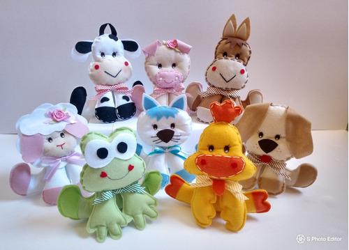fazendinha em feltro kit com 8 animais - decoração de festa