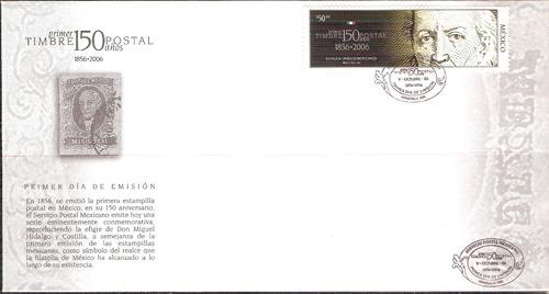 fdc 150 años del primer timbre postal en méxico 1856-2006