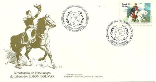fdc-291 1983 bicentenário do nascimento de simón bolívar