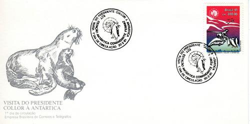 fdc-527  visita do presidente collor a antartica 1991