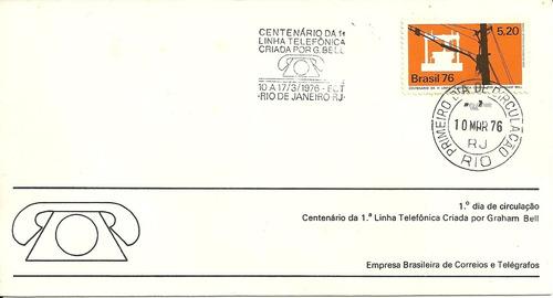 fdc-88 1976 centenário do telefone carimbo cbc + 1ºdia rj