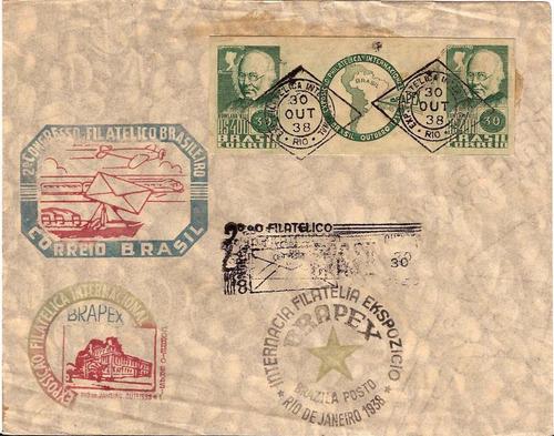 fdc bloco 1 par central com cbc e + 4 carimbos brasil 1938