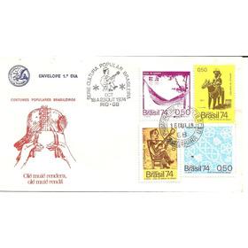 Fdc Selos 859/62 E Carimbo Especial Cultura Popular 1974