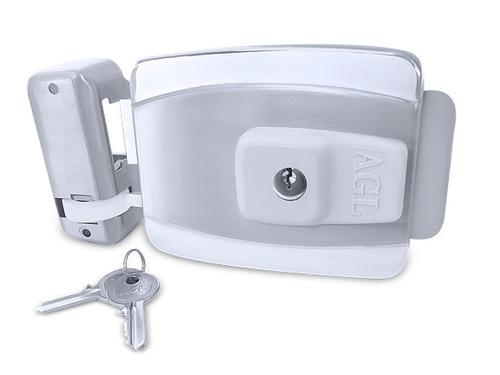 fechadura elétrica agl inox para portas ou portões 110v