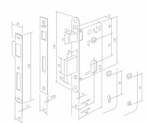 fechadura externa 55mm porta madeira imab cromo fosca