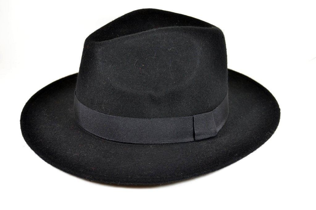 3c8bc6ed714a8 Carregando zoom... chapéu fedora gangster aba larga feminino masculino preto