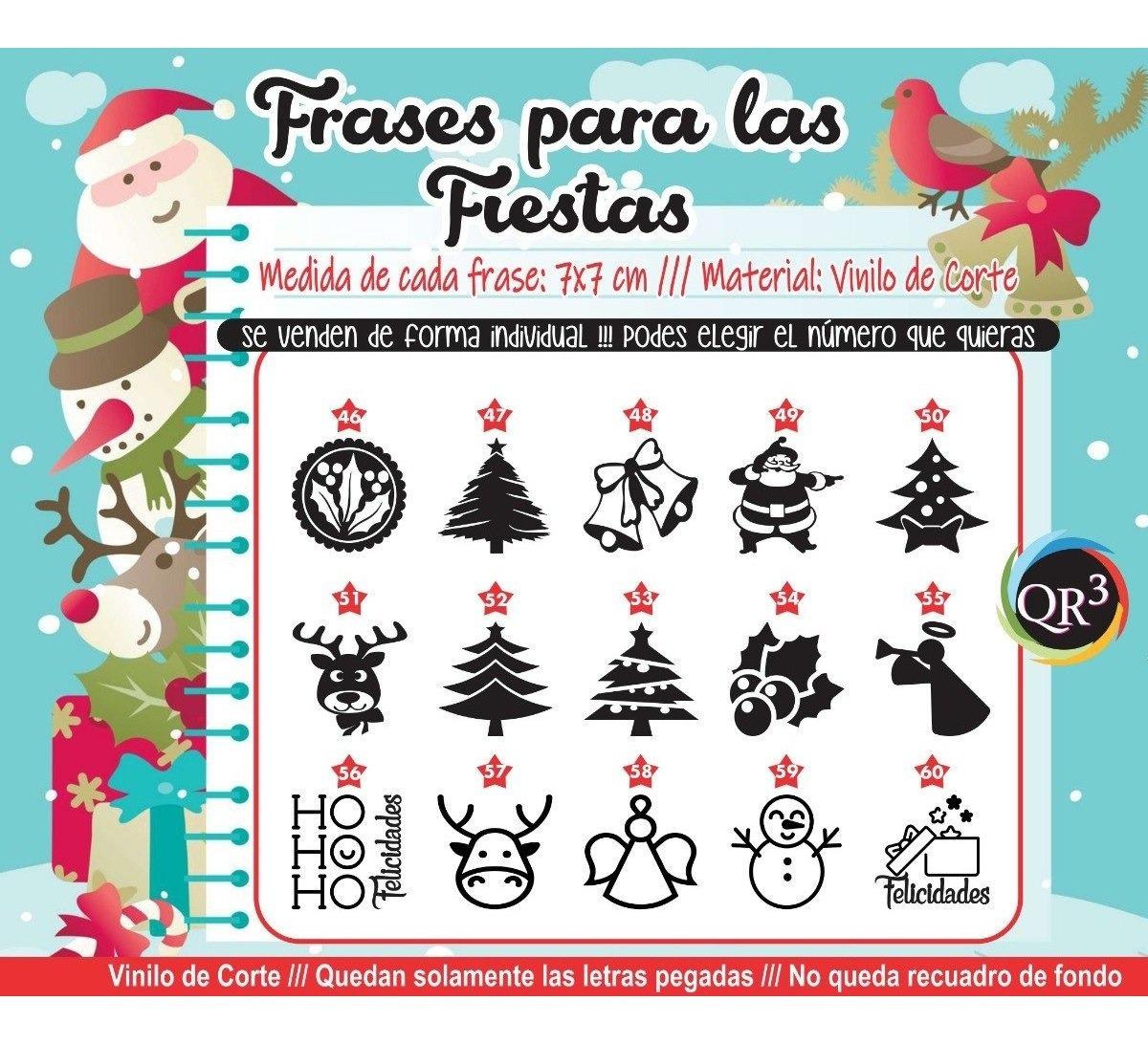 Felices Fiestas Navidad Vinilo Frases P Frascos X 20 Unid