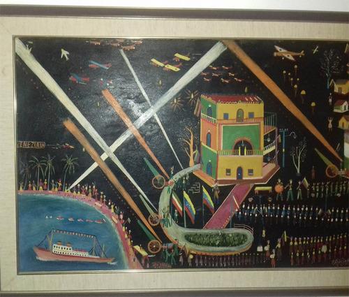 feliciano carvallo pintura cuadro oleo sobre madera autentic