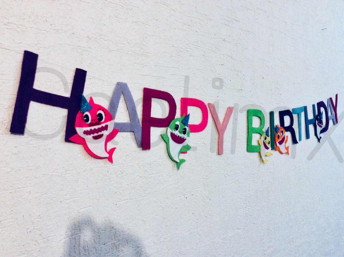 Feliz Cumpleanos Banner Baby Shark 275 00 En Mercado Libre