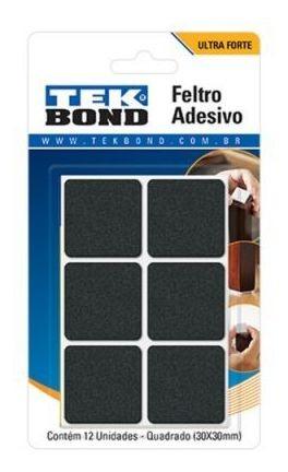 feltro quadrado 22mm branco c/16pçs tekbond - tekbond