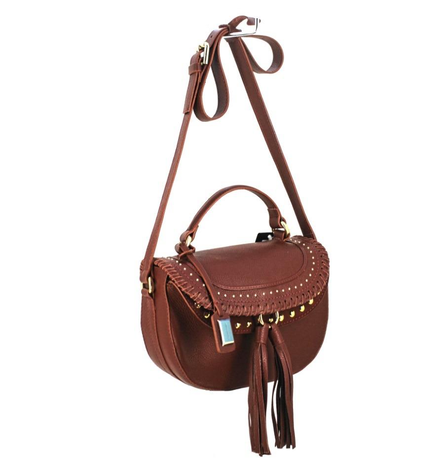 c73f9ad30 Carregando zoom... bolsa feminina tiracolo em couro com franja e tachas  carrano