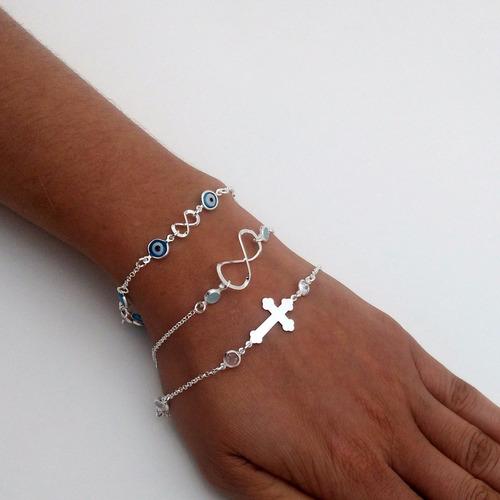 femininas prata pulseiras