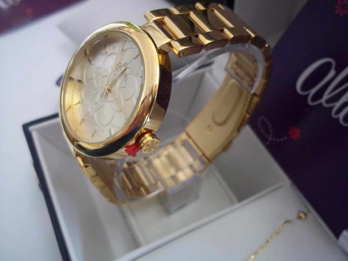 1c0e4a216b3 Carregando zoom... kit relógio feminino dourado allora com conjunto folheado