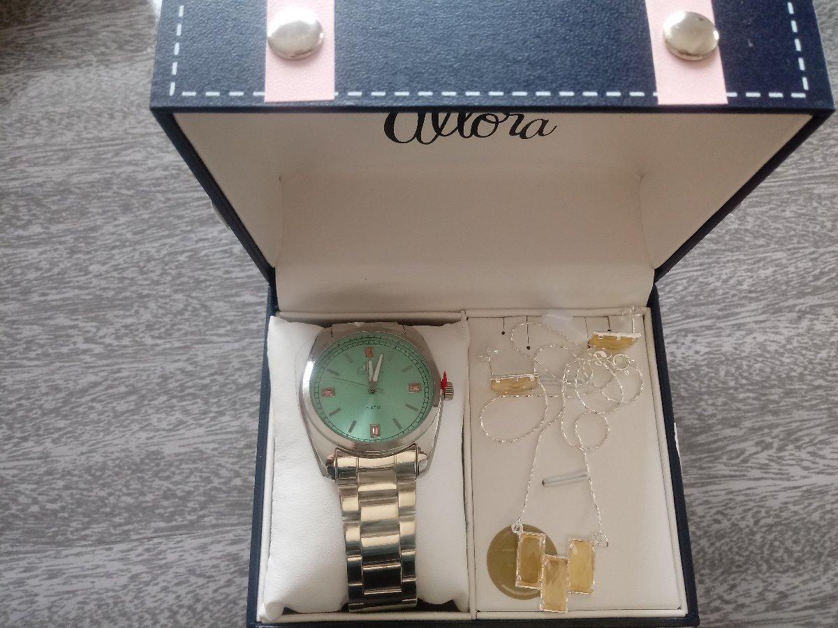 cbf0c66a5 Carregando zoom... kit relógio feminino allora al2035f prata pulseira e  brincos
