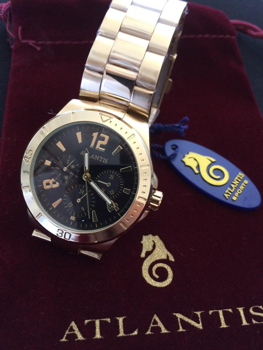 7e0a0255371 Relógio Feminino Analógic Atlantis G3234 Dourado Fundo Preto - R  90 ...