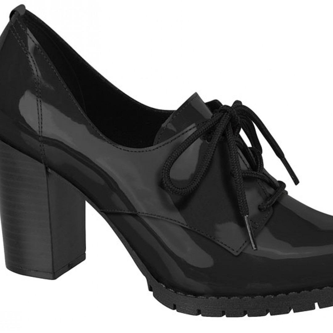 Sapato Oxford Feminino Beira Rio Preto E Bege Verniz - R  99 64626317df01b