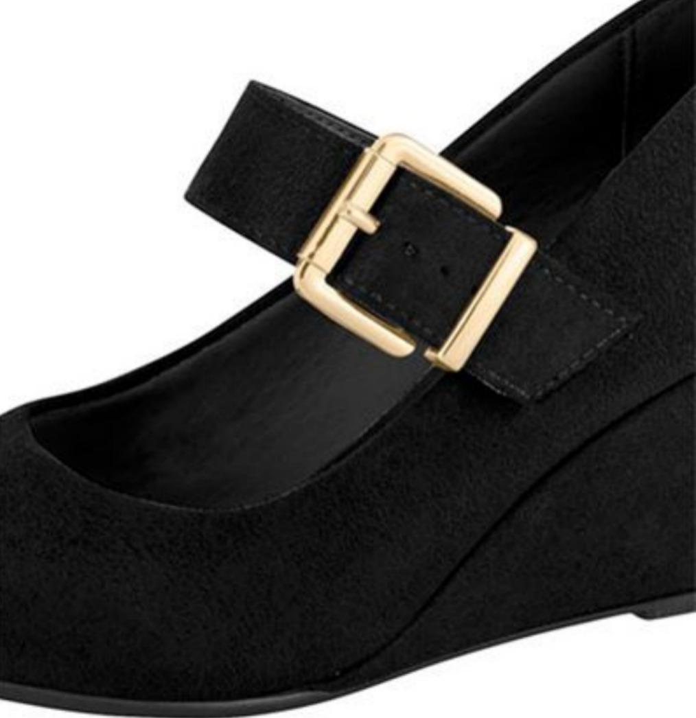 d838dc7469 Carregando zoom... sapato feminino preto boneca salto medio baixo frete  gratis