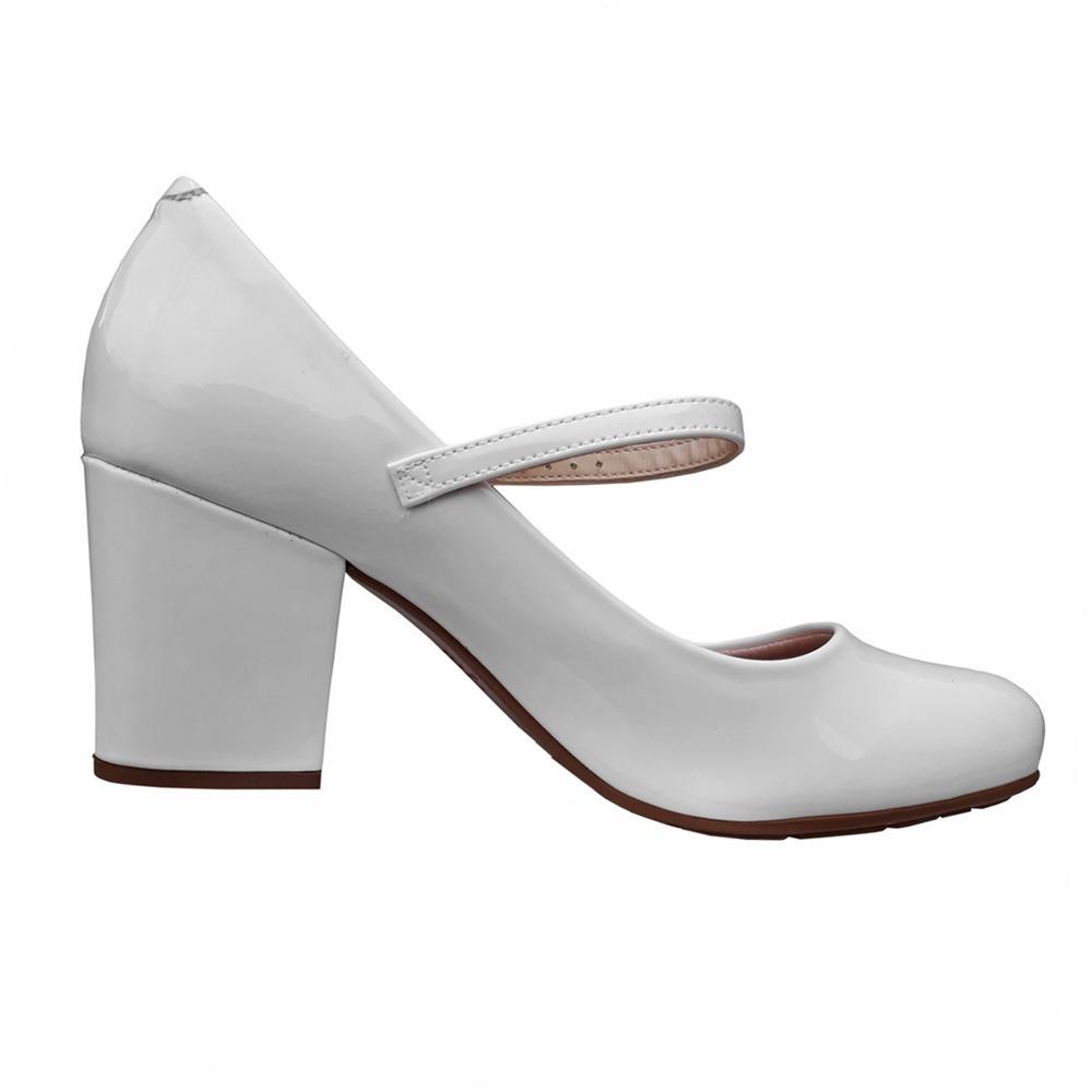 405eb61b28 Carregando zoom... sapato feminino boneca branco noiva salto medio ...