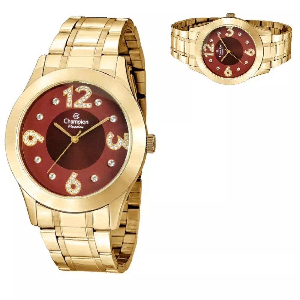 be5f38695aa Carregando zoom... relógio feminino champion dourado vermelho original  cn29178i