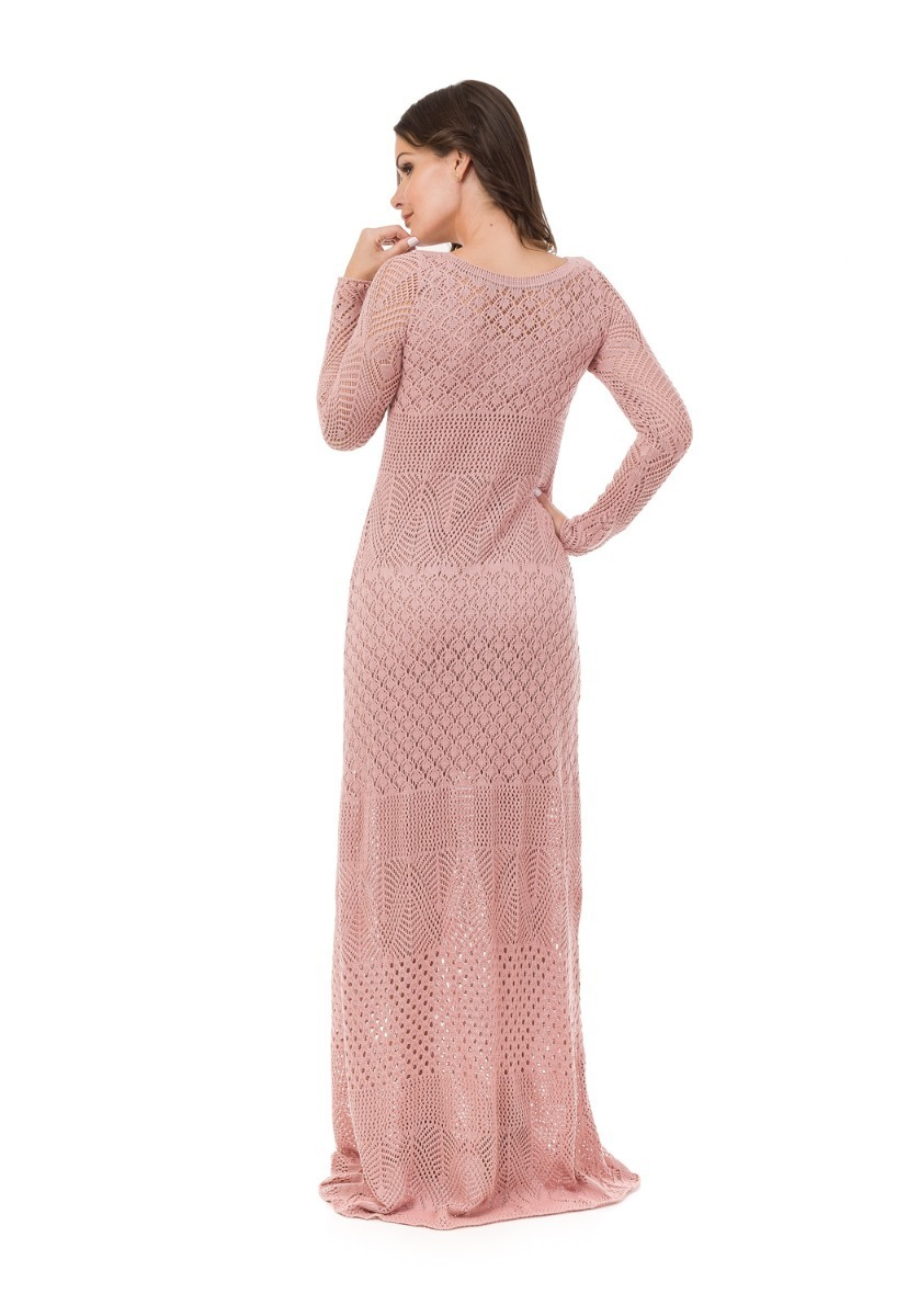 945aab4bc Carregando zoom... vestido longo feminino tricot tricô manga longa renda  festa