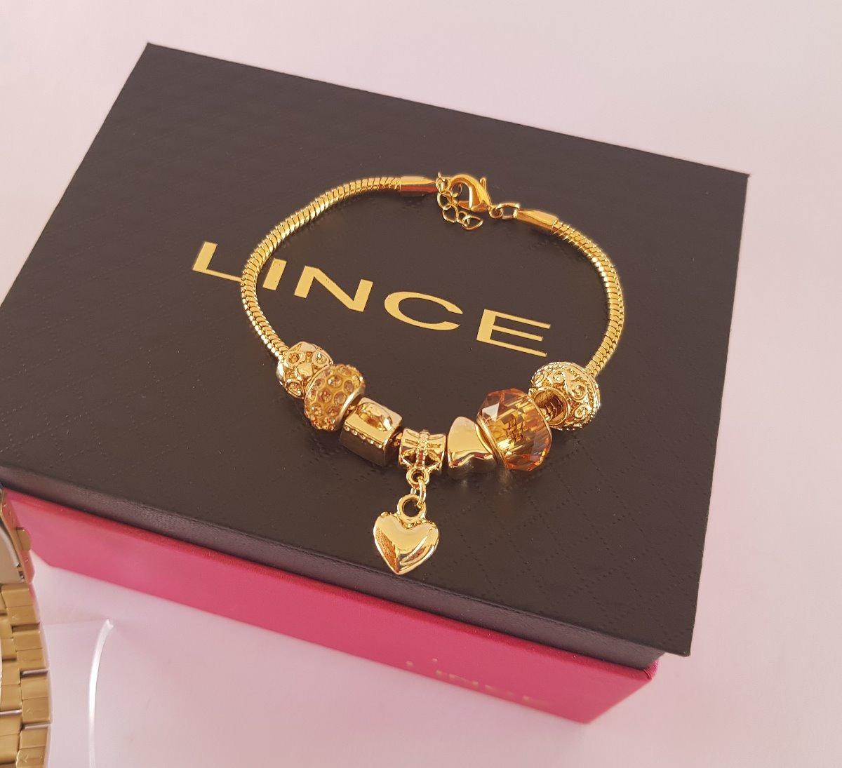 9d3abb61b32 Carregando zoom... relógio lince feminino dourado lince + pulseira lrg4553l