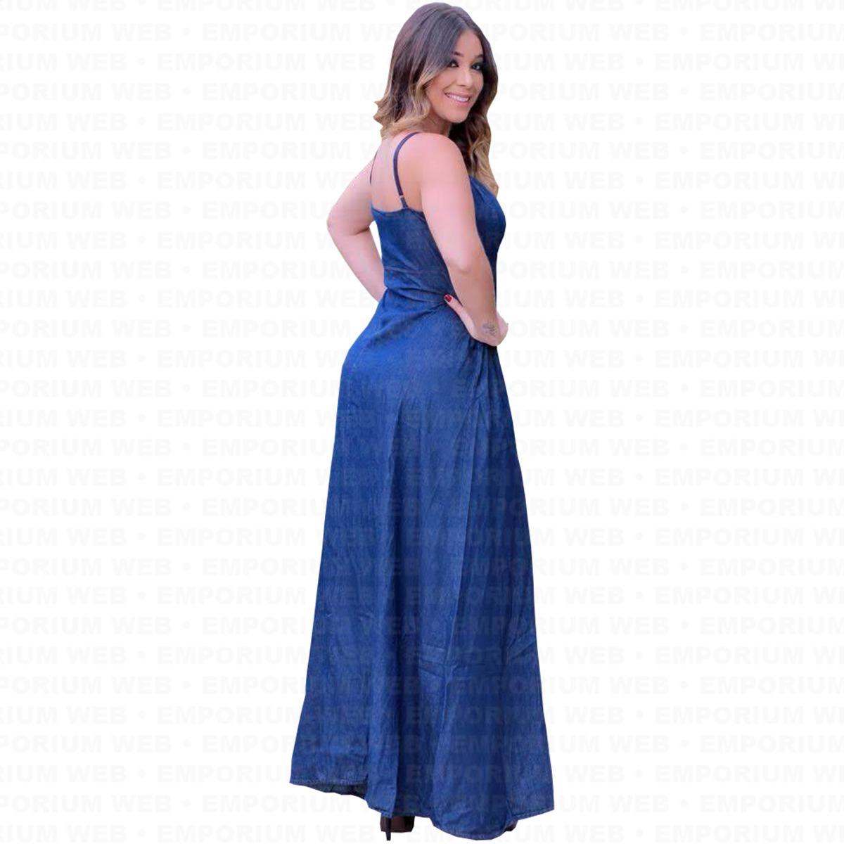 21c1fcc40 Carregando zoom... vestido feminino jeans longo alcinha tendência moda  momento