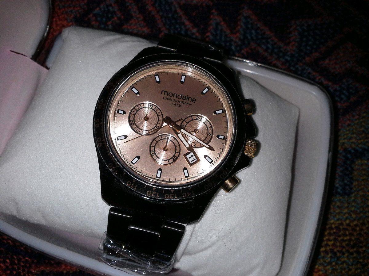 dff2302e785 Carregando zoom... relógio feminino preto mondaine chronograph sport glamour