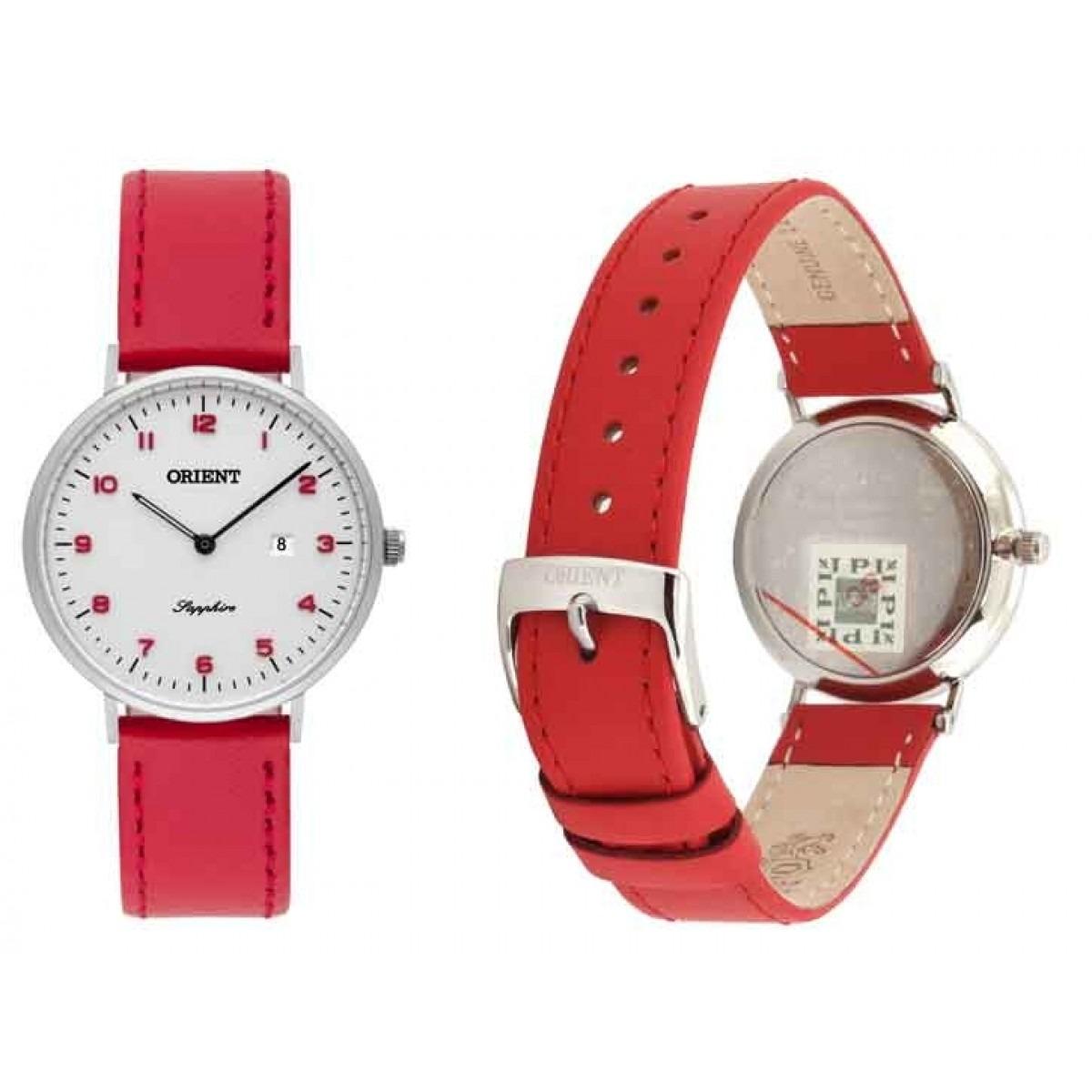 04a46e2fe78 Carregando zoom... relogio feminino slim pulseira de couro vermelha orient