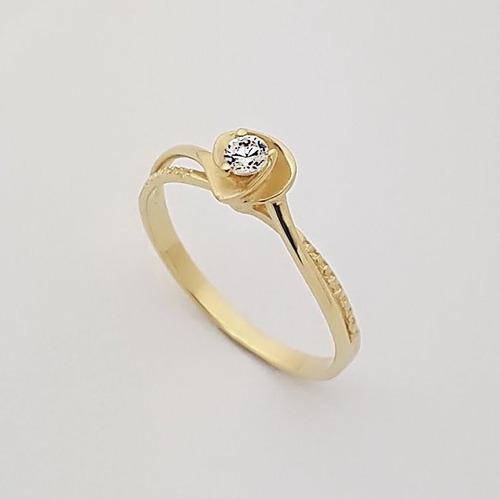 feminino ouro anel solitário